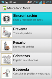 preventa movil - menu principal
