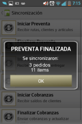 preventa movil para celulares - sincronizacion exitosa